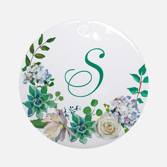 Monogrammed Spring Floral Wreath Round Ornament