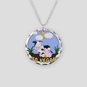 Friends Not Food - Go Vegan Necklace Circle Charm