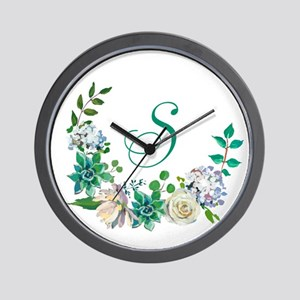 Monogrammed Spring Floral Wreath Wall Clock