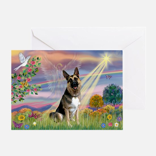 Cloud Angel & German Shepherd Greeting Card