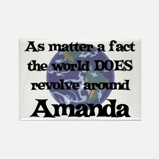 World Revolves Around Amanda Rectangle Magnet