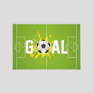 Football Ball And Field 4' x 6' Rug