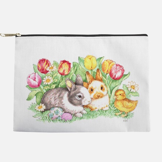 Easter Bunnies, Duckling And Tulips Makeup Bag