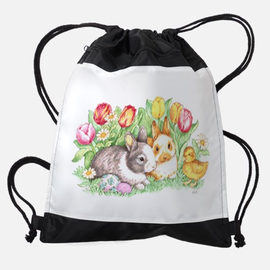 Easter Bunnies, Duckling And Tulips Drawstring Bag