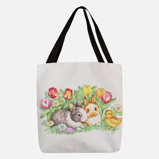 Easter Bunnies, Duckling and Tulips Polyester Tote