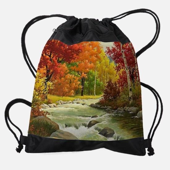 Autumn Landscape Painting Drawstring Bag