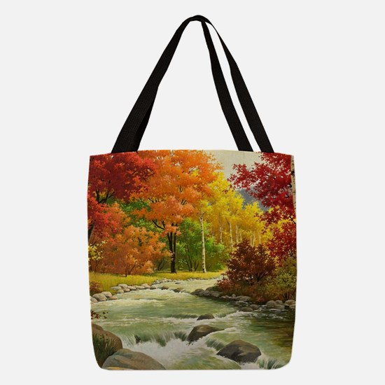 Autumn Landscape Painting Polyester Tote Bag