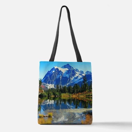 Mountain At Autumn Polyester Tote Bag