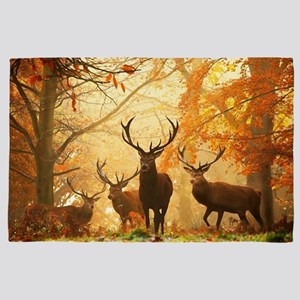 Deer In Autumn Forest 4' x 6' Rug