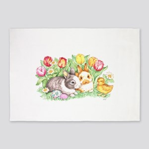 Easter Bunnies, Duckling and Tulips 5'x7'Area Rug