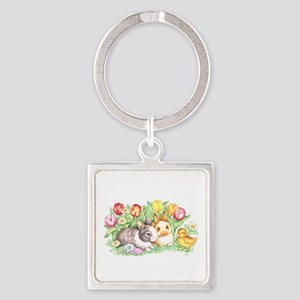 Easter Bunnies, Duckling And Tulips Keychains