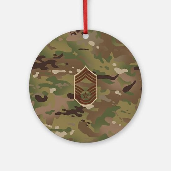 U.S. Air Force: CMSgt (Camo) Round Ornament