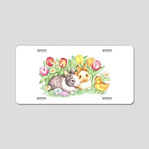 Easter Bunnies, Duckling Aluminum License Plate