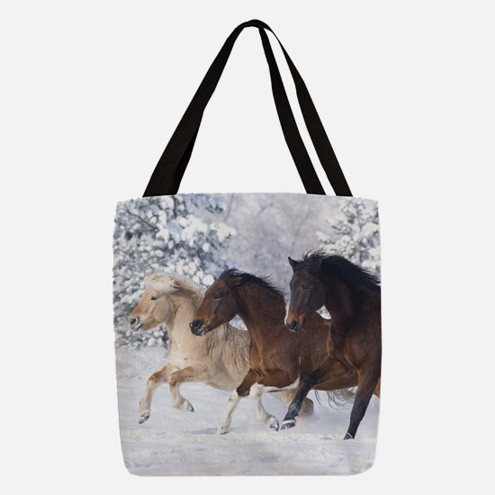 Horses Running In The Snow Polyester Tote Bag