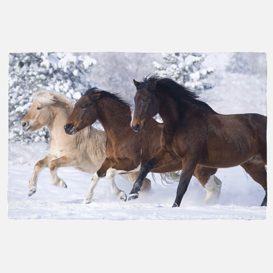 Horses Running In The Snow 4 X 6 Rug