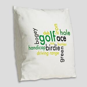 Golf Burlap Throw Pillow