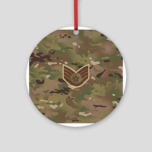 U.S. Air Force: E-5 SSgt (Camo) Round Ornament