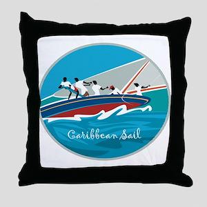 Caribbean Sail Throw Pillow