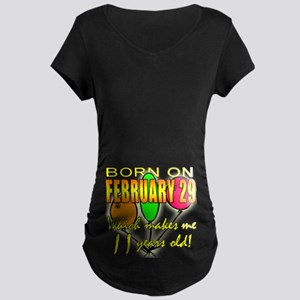 Born on Leap Year, 11 Years Old Maternity Dark T-S