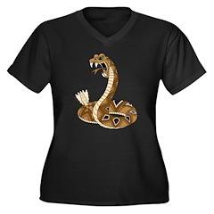 Rattlesnake Women's Plus Size V-Neck Dark T-Shirt