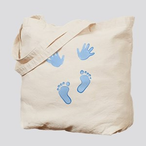 Baby Blue Baby Hands and Feet Tote Bag