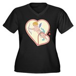 Cupid Love Women's Plus Size V-Neck Dark T-Shirt