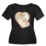 Cupid Love Women's Plus Size Scoop Neck Dark T-Shi