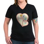 Cupid Love Women's V-Neck Dark T-Shirt