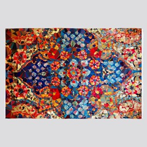 Red Blue Gold Stained Glass 4' x 6' Rug