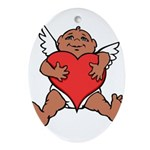 Cute Valentine's Cupid Oval Ornament