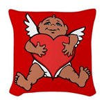 Cute Valentine's Cupid Woven Throw Pillow