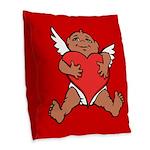 Cute Valentine's Cupid Burlap Throw Pillow