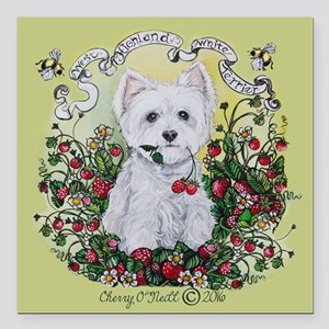 "Strawberry Westie Square Car Magnet 3"" x 3"""