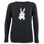Easter Bunny Cute Pocket Plus Size Long Sleeve Tee