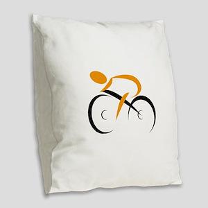 cycling Burlap Throw Pillow
