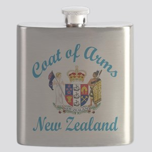 Coat Of Arms New Zealand Country Designs Flask