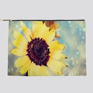 summer botanical watercolor sunflower Makeup Bag