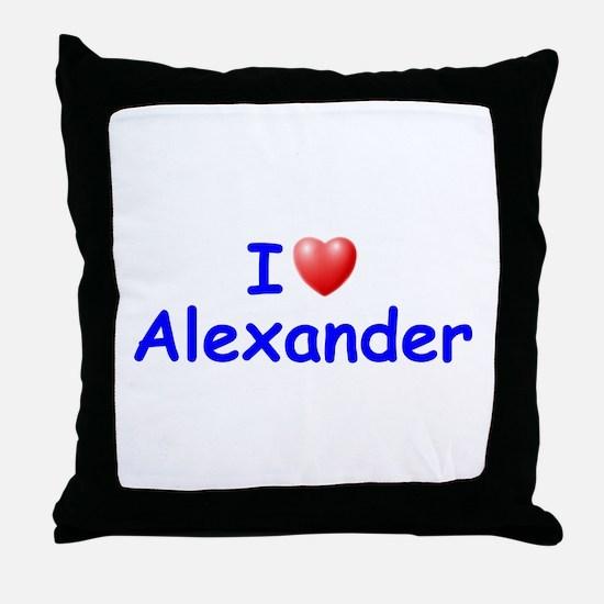 I Love Alexander (Blue) Throw Pillow