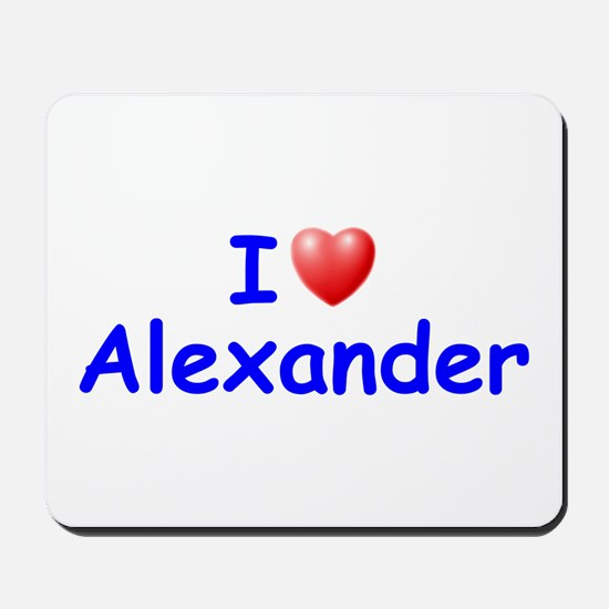 I Love Alexander (Blue) Mousepad