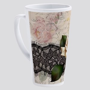 black lace white rose Paris 17 oz Latte Mug