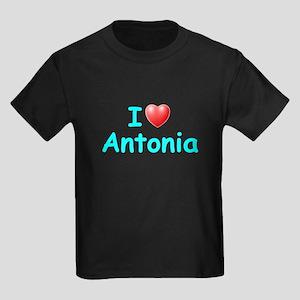 I Love Antonia (Lt Blue) Kids Dark T-Shirt