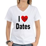 I Love Dates (Front) Women's V-Neck T-Shirt