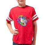 Kids Happy Rainbow Unicorn Football T-Shirt