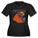 TWISTED Women's Plus Size V-Neck Dark T-Shirt