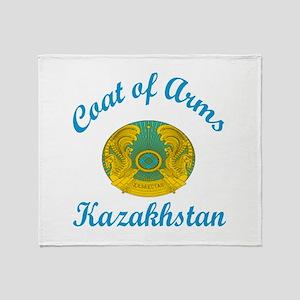 Coat Of Arms Kazakhstan Country Desi Throw Blanket