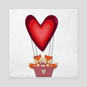 Cute Fox Couple in Heart Air Balloon Queen Duvet