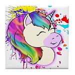 Happy Rainbow Unicorn Tile Coaster
