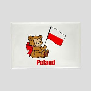 Poland Teddy Bear Rectangle Magnet
