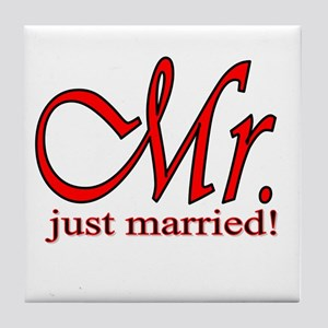His & Her Just Married Tile Coaster