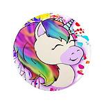 "Happy Rainbow Unicorn 3.5"" Button"